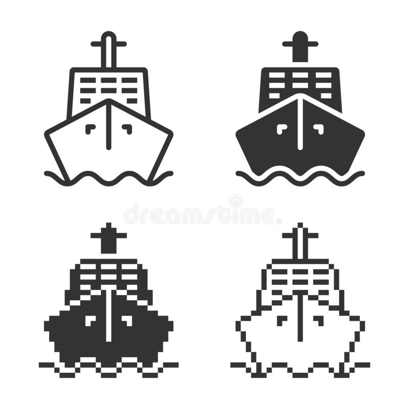 Ic?ne monochromatique de bateau dans diff?rentes variantes illustration libre de droits
