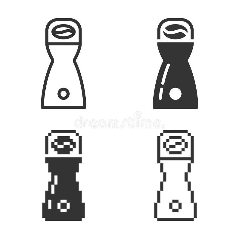 Icône monochromatique de broyeur de café dans différentes variantes illustration de vecteur