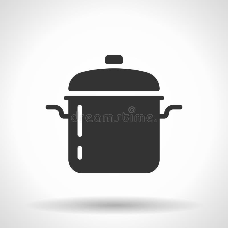 Icône monochromatique de casserole de ragoût illustration libre de droits