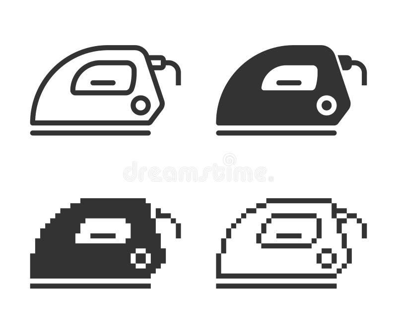 Icône monochromatique de fer électrique dans différentes variantes illustration de vecteur
