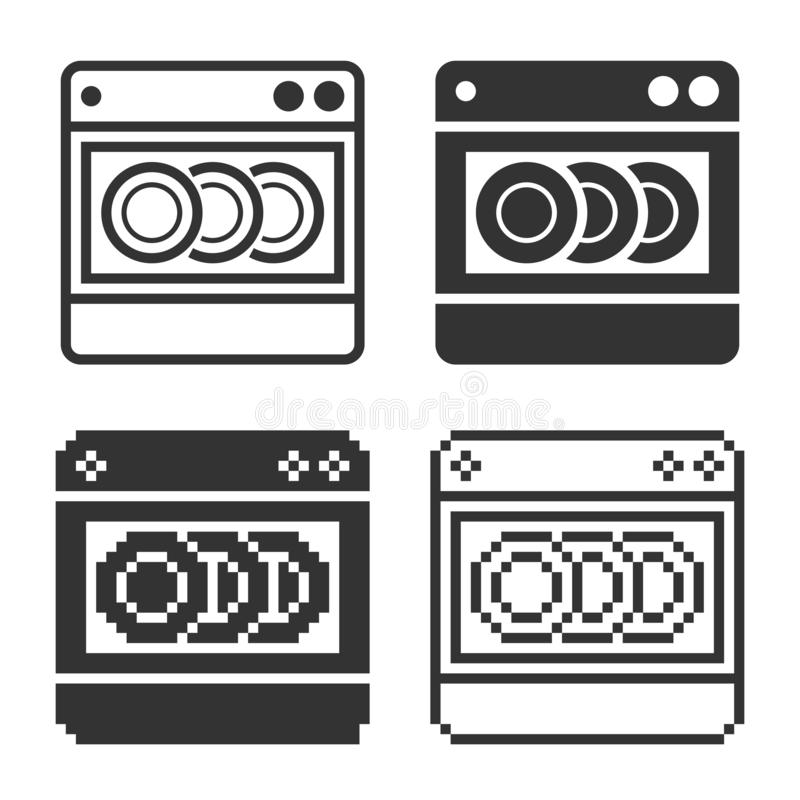 Icône monochromatique de machine de vaisselle dans différentes variantes illustration stock