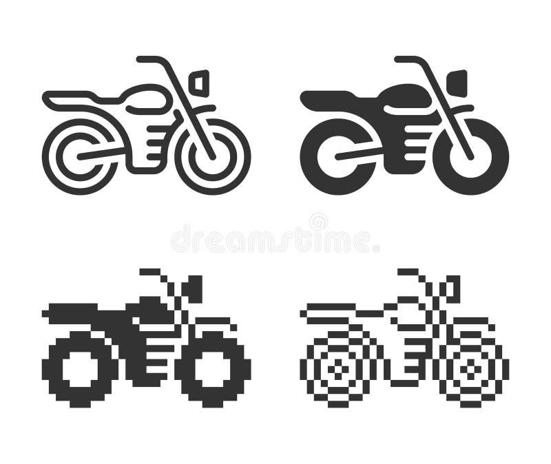 Ic?ne monochromatique de moto dans diff?rentes variantes illustration de vecteur