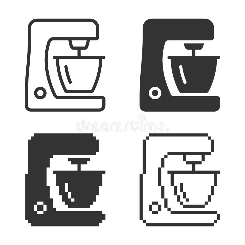 Icône monochromatique de robot ménager dans différentes variantes illustration libre de droits