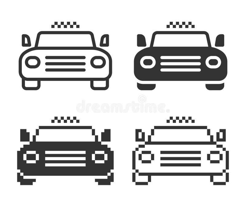 Ic?ne monochromatique de taxi dans diff?rentes variantes illustration stock