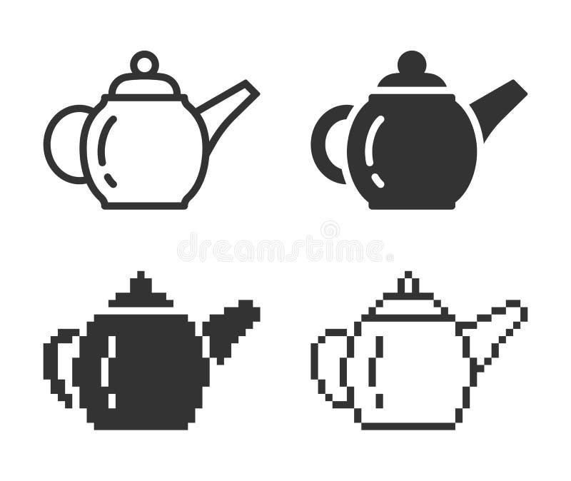 Icône monochromatique de théière de brassage dans différentes variantes illustration libre de droits