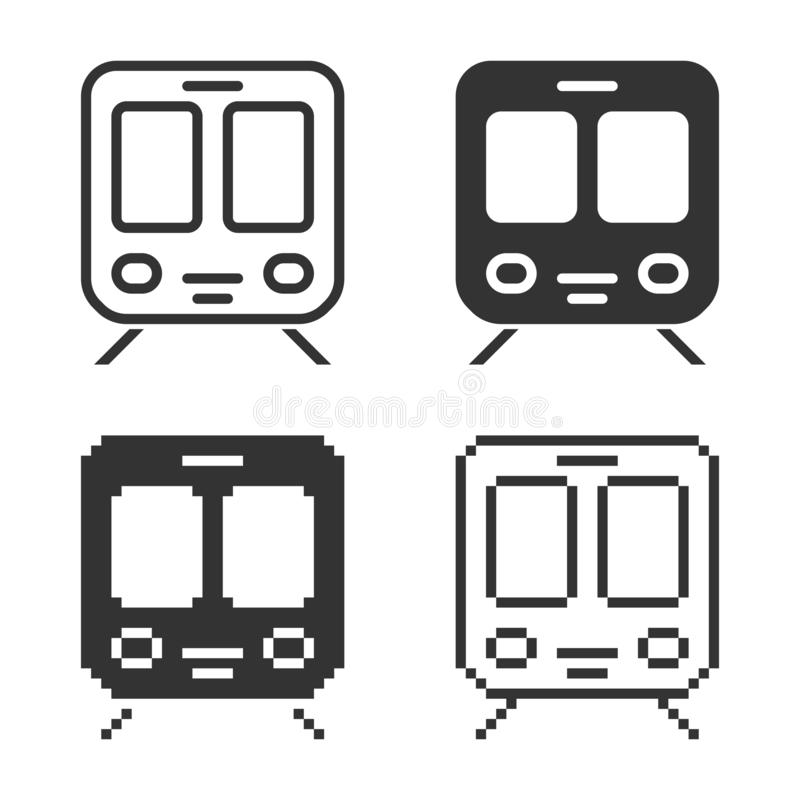Ic?ne monochromatique de train dans diff?rentes variantes illustration stock