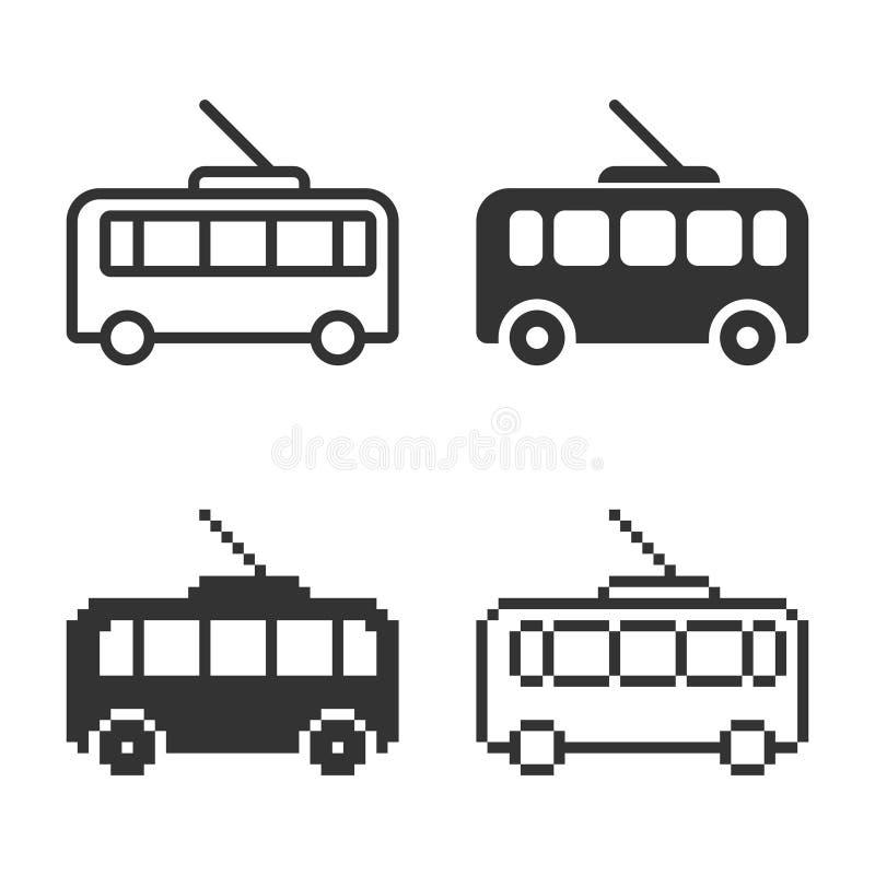 Ic?ne monochromatique de trolleybus dans diff?rentes variantes illustration de vecteur