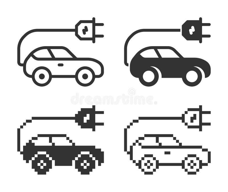 Ic?ne monochromatique de voiture ?lectrique dans diff?rentes variantes illustration de vecteur