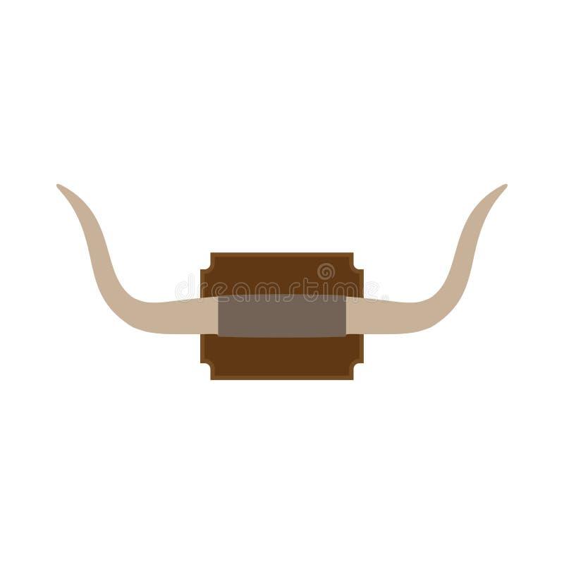 Icône montée de vecteur de voyage de klaxon de mur Safari animal d'illustration de grand herbivore de taureau illustration stock