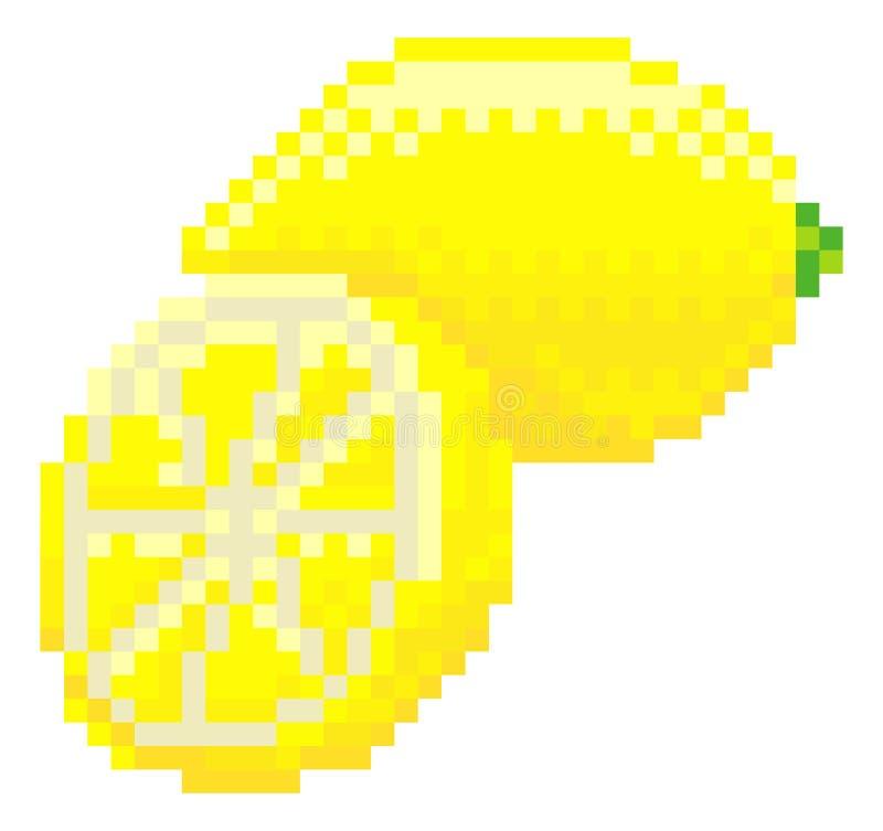 Icône mordue de fruit de jeu vidéo de l'art 8 de pixel de citron illustration stock