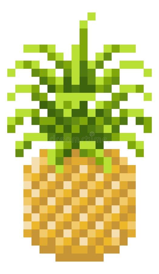 Icône mordue de fruit de jeu vidéo de l'art 8 de pixel d'ananas illustration stock