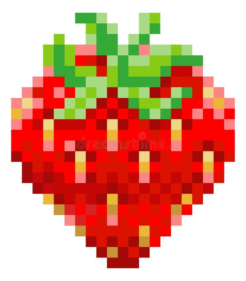 Icône mordue de fruit de jeu vidéo de l'art 8 de pixel de fraise illustration de vecteur