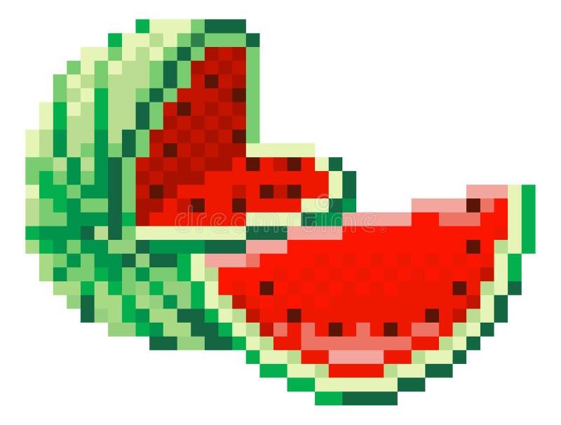 Icône mordue de fruit de jeu vidéo de l'art 8 de pixel de pastèque illustration stock
