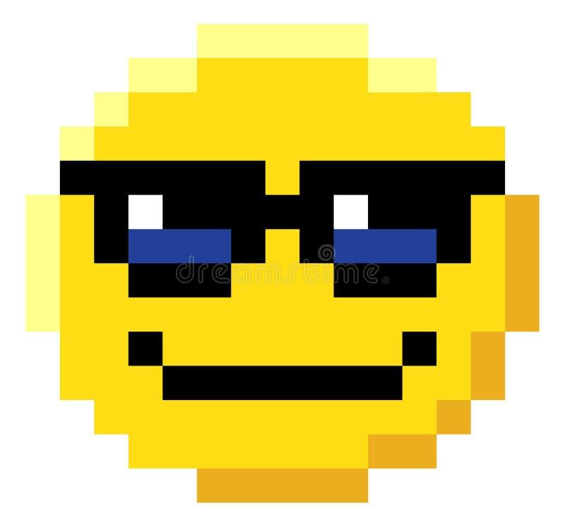 Icône mordue de jeu vidéo de l'art 8 de pixel de visage d'émoticône illustration stock