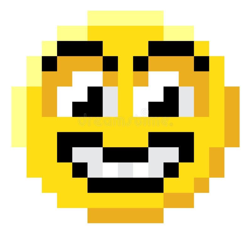 Icône mordue de jeu vidéo de l'art 8 de pixel de visage d'émoticône illustration libre de droits