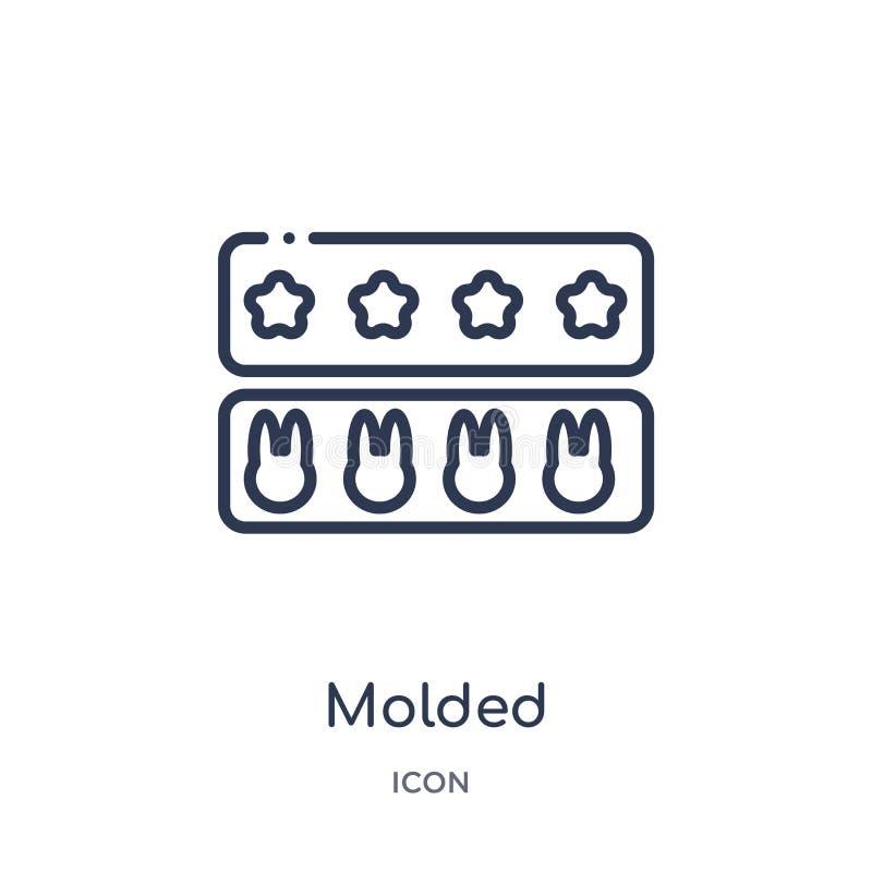 Icône moulée linéaire de collection d'ensemble de cuisine La ligne mince a moulé l'icône d'isolement sur le fond blanc illustrati illustration libre de droits