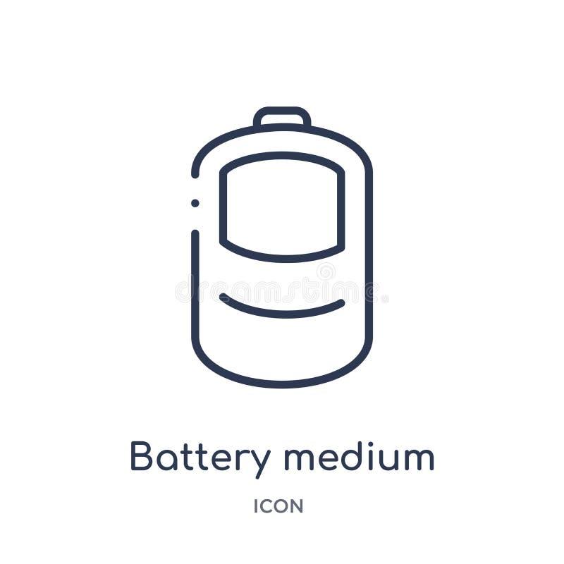 icône moyenne de charge de batterie de collection d'ensemble d'interface utilisateurs Ligne mince icône moyenne de charge de batt illustration libre de droits