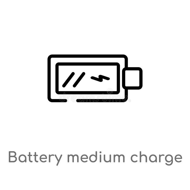 ic?ne moyenne de vecteur de charge de batterie d'ensemble r editable illustration de vecteur
