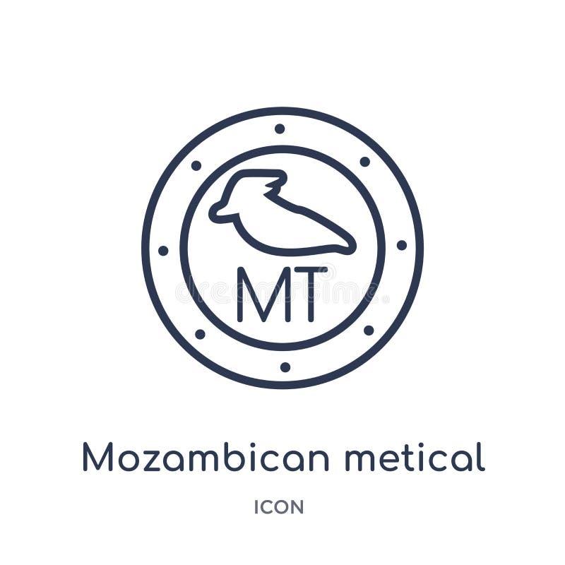 Icône mozambicaine linéaire de metical de collection d'ensemble de l'Afrique Ligne mince vecteur de metical de Mozambicain d'isol illustration de vecteur