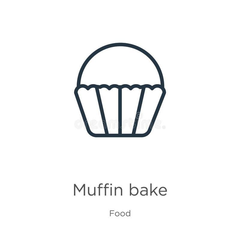 Icône Muffin Bake Icône de contour mince linéaire de pâtisserie muffin isolé sur fond blanc provenant de la collecte des aliments illustration libre de droits