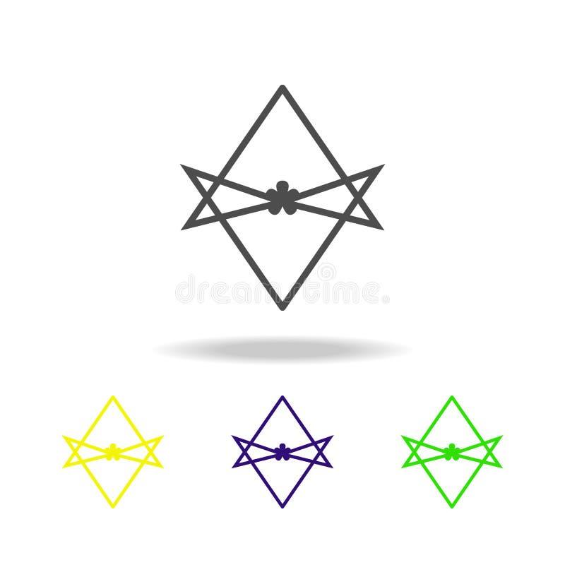 Icône multicolore de signe unicursale de hexagram de Thelema L'icône unicursale détaillée de hexagram de Thelema peut être employ illustration libre de droits