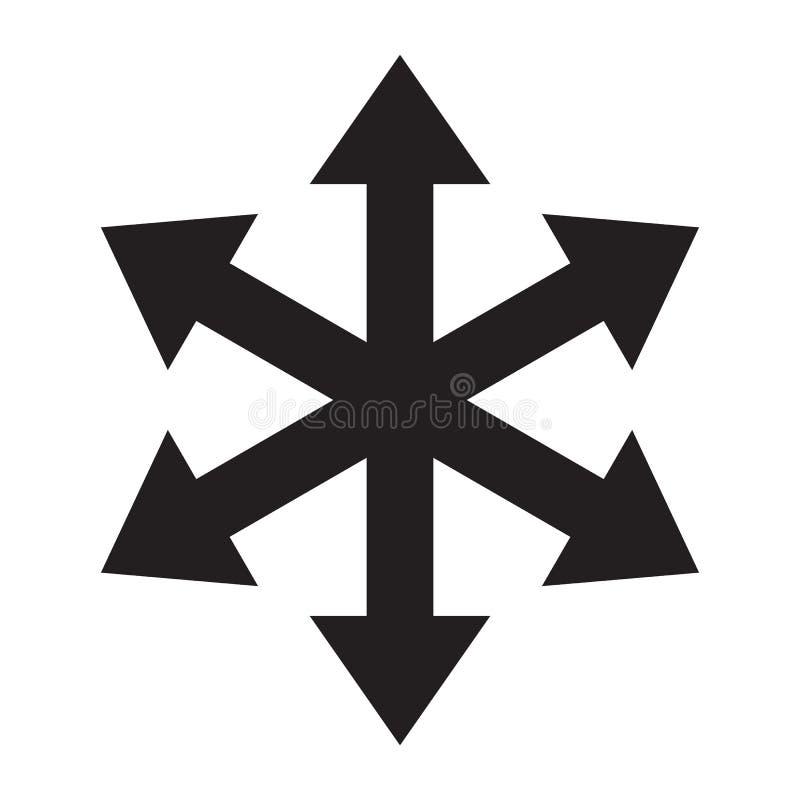 Icône multiple de vecteur de direction de manière de la flèche six illustration de vecteur
