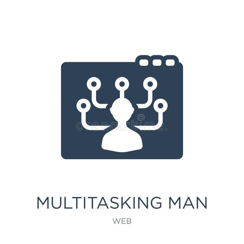 icône multitâche d'homme dans le style à la mode de conception icône multitâche d'homme d'isolement sur le fond blanc icône multi illustration stock