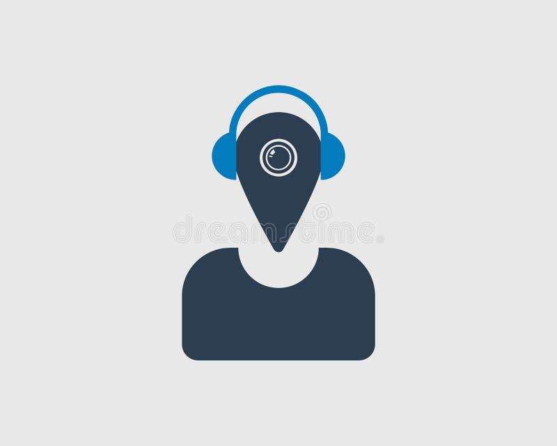 Icône musicale d'emplacement Un homme observé avec l'emplacement dirigé illustration libre de droits