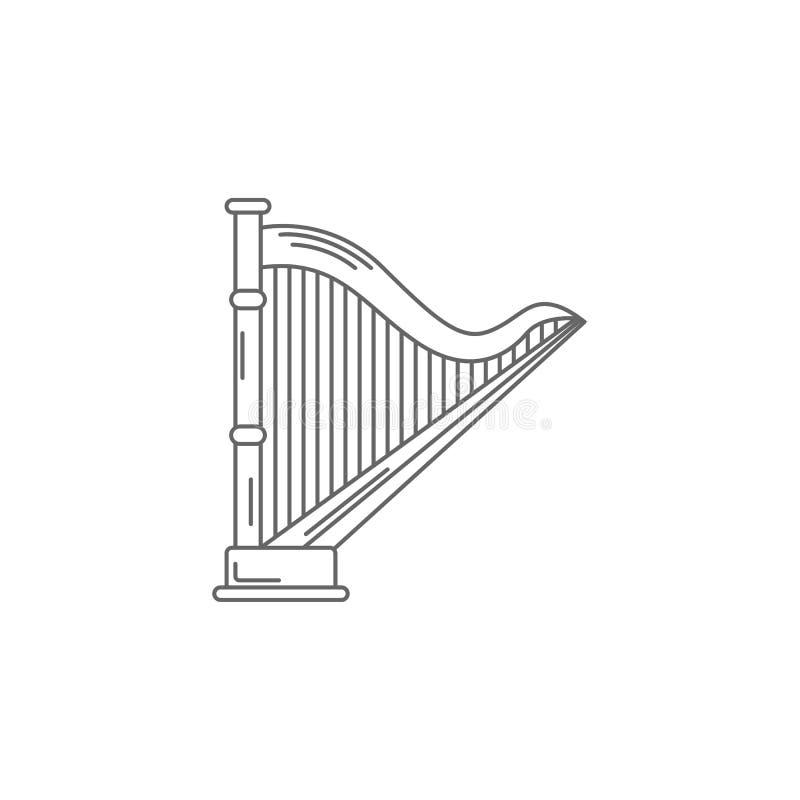 Icône musicale d'harpe Illustration simple d'élément Calibre musical de conception de symbole d'harpe Peut être employé pour le W illustration de vecteur