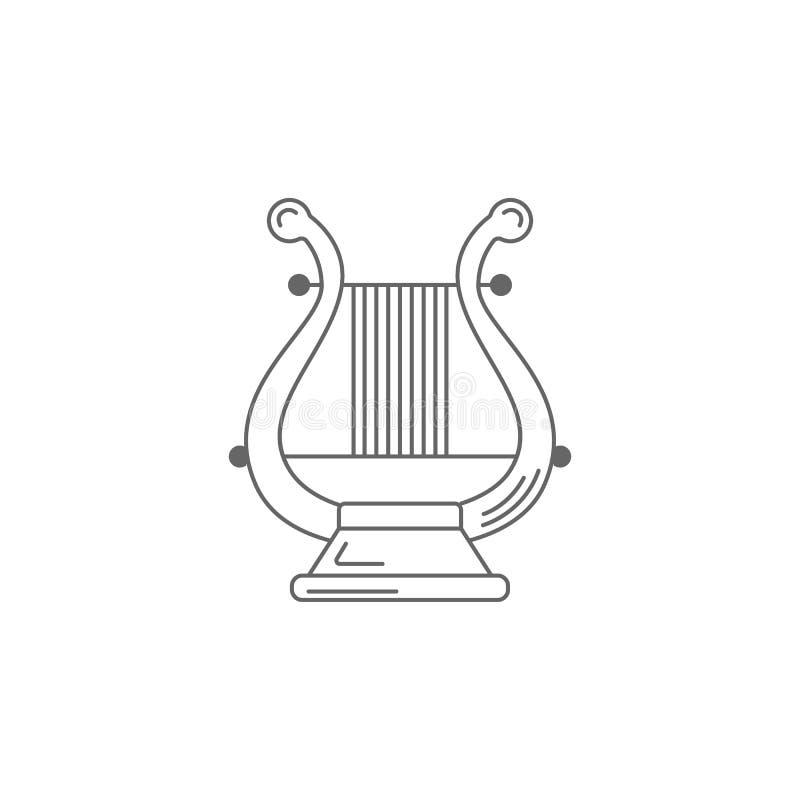 Icône musicale d'harpe Illustration simple d'élément Calibre musical de conception de symbole d'harpe Peut être employé pour le W illustration stock
