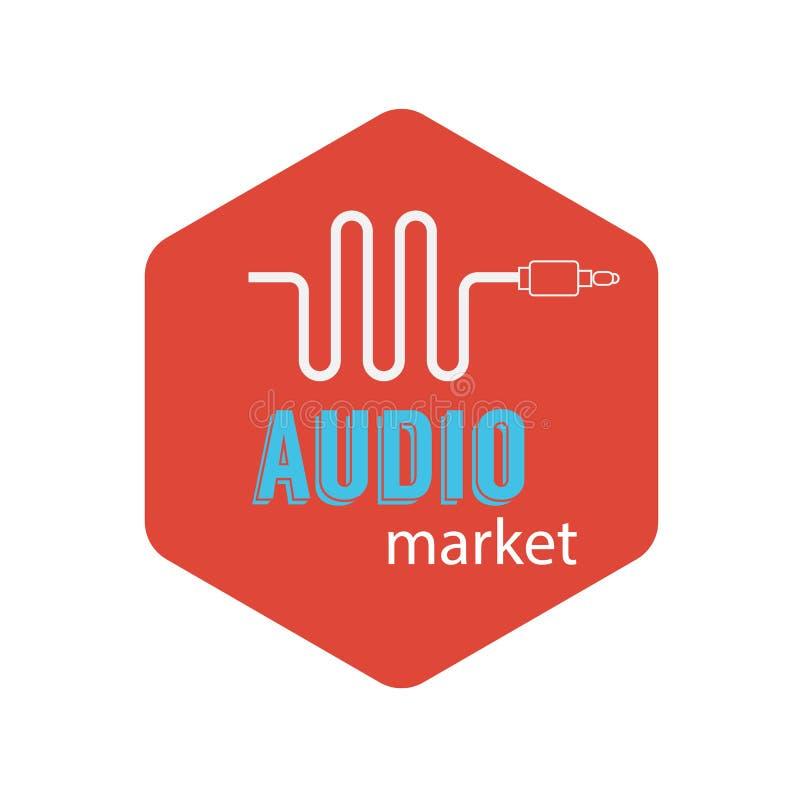 Icône musicale de fil Équipement de connecteur de musique sur un fond rouge Logo pour votre compagnie illustration stock