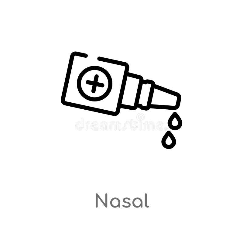 icône nasale de vecteur d'ensemble ligne simple noire d'isolement illustration d'?l?ment de concept m?dical icône nasale de cours illustration de vecteur