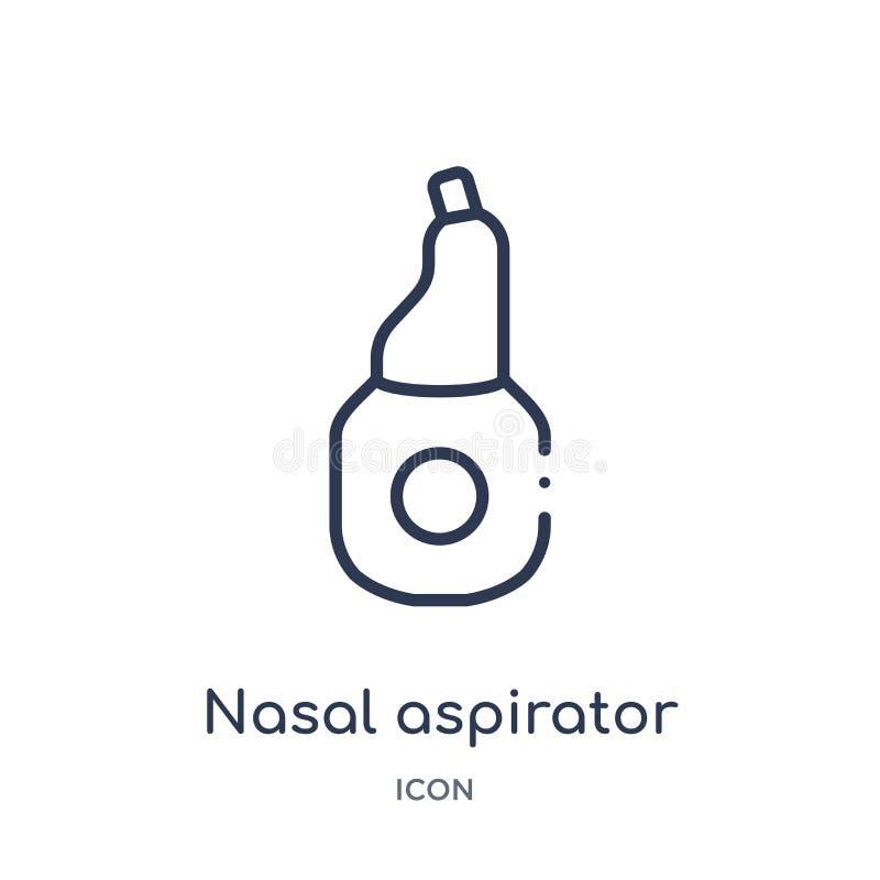 Icône nasale linéaire d'aspirateur de collection d'ensemble d'hygiène Ligne mince icône nasale d'aspirateur d'isolement sur le fo illustration de vecteur