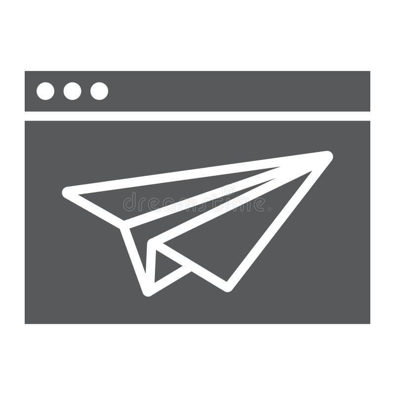 Icône, navigateur et page de glyph de page d'atterrissage illustration libre de droits
