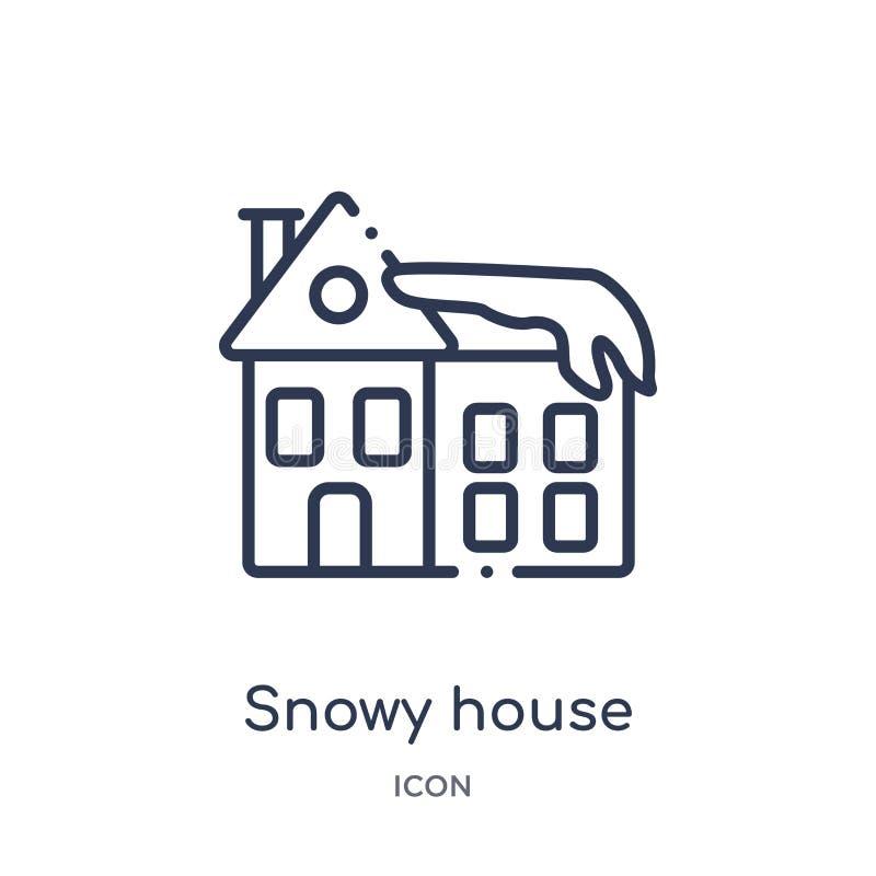 Icône neigeuse linéaire de maison de collection d'ensemble de météorologie Ligne mince icône neigeuse de maison d'isolement sur l illustration libre de droits
