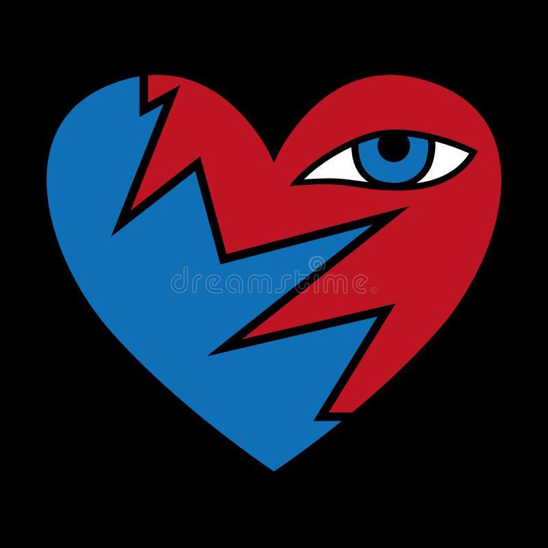 Icône noire cassée de coeur, illustration de immense chagrin illustration de vecteur