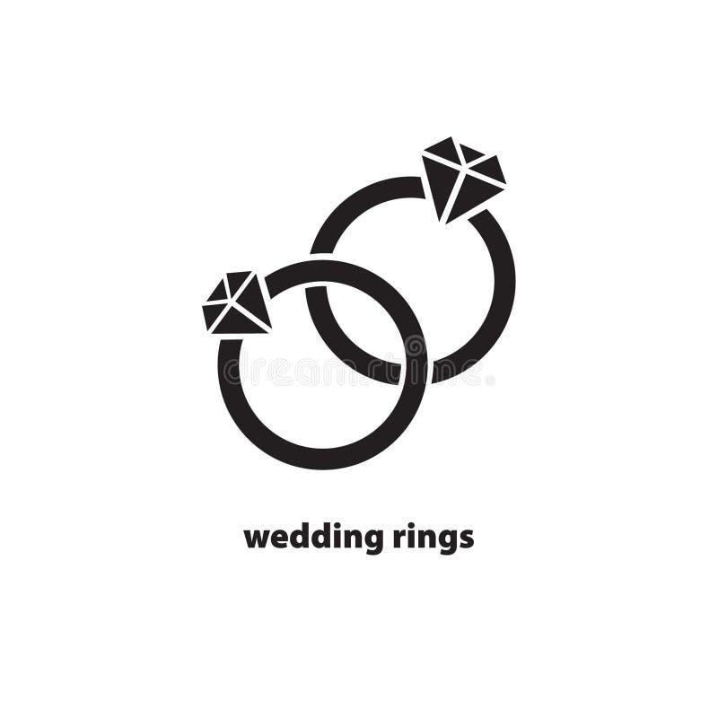 Icône noire d'anneaux de mariage illustration libre de droits