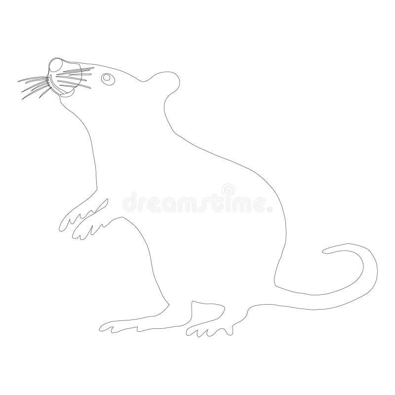Icône noire d'ensemble de rat debout curieux sur le fond blanc illustration libre de droits