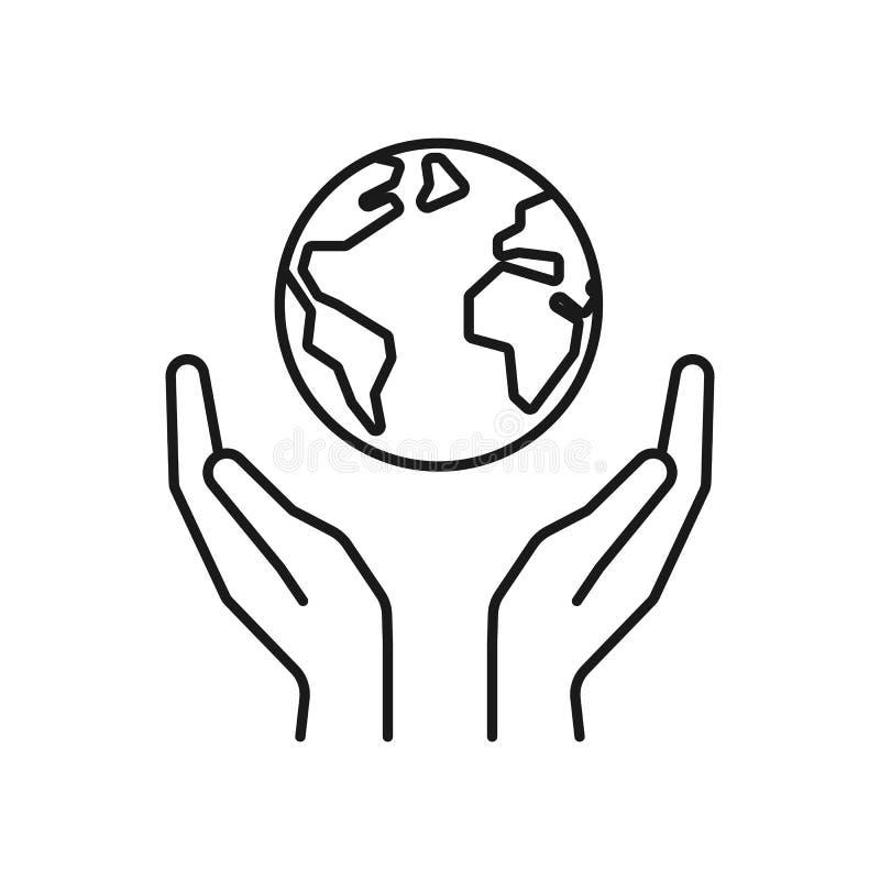 Icône noire d'isolement d'ensemble de la planète, la terre dans des mains sur le fond blanc Ligne icône de globe et de mains Symb illustration stock