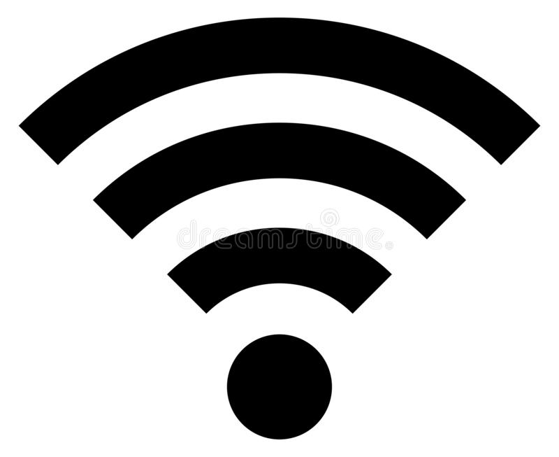 Icône noire d'isolement simple Wi-Fi illustration de vecteur
