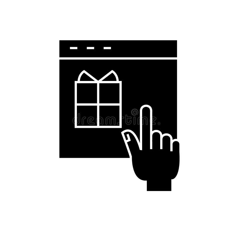 Icône noire de achat en ligne de concept de vecteur Illustration plate de achat en ligne, signe illustration stock
