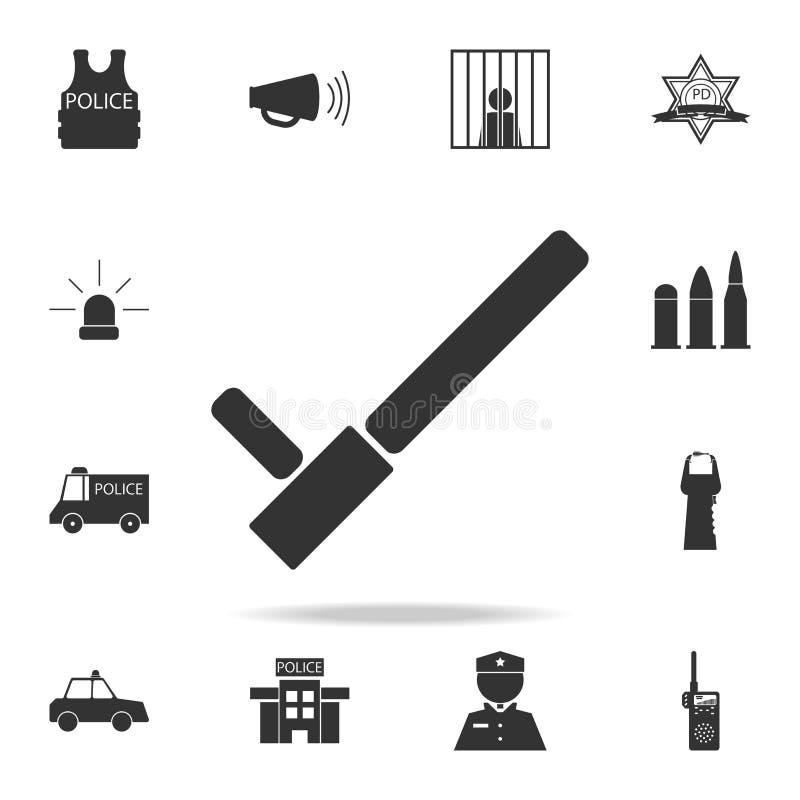 Icône noire de bâton de police Ensemble détaillé d'icônes d'élément de police Conception graphique de qualité de la meilleure qua illustration libre de droits