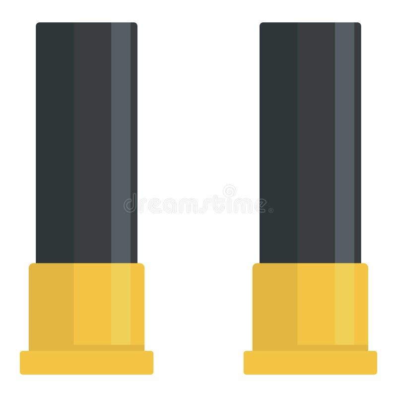 Icône noire de cartouches de fusil de chasse, style plat illustration libre de droits