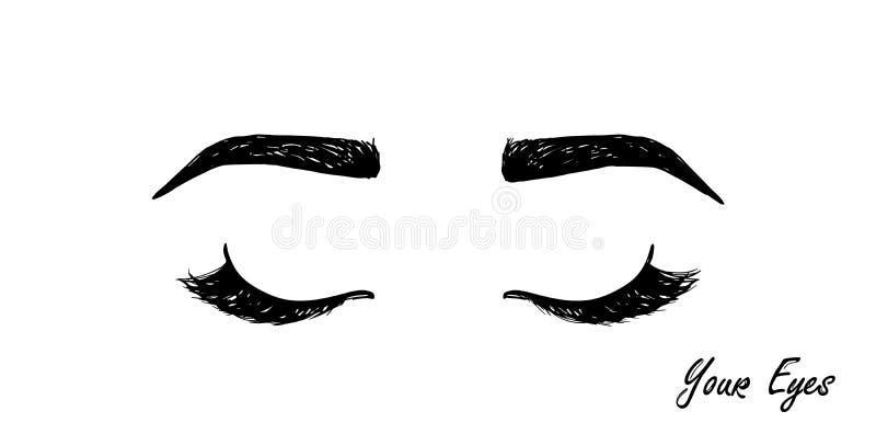 Icône noire de cils et de sourcils Retrait de main graphique moderne de logotype d'extension de mèches de tendance simple plate d illustration libre de droits