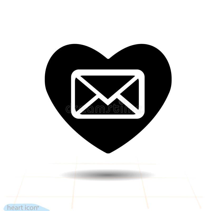 Icône noire de coeur, symbole d'amour Courrier au coeur Signe de jour de valentines, emblème, style plat pour le graphique et web illustration de vecteur