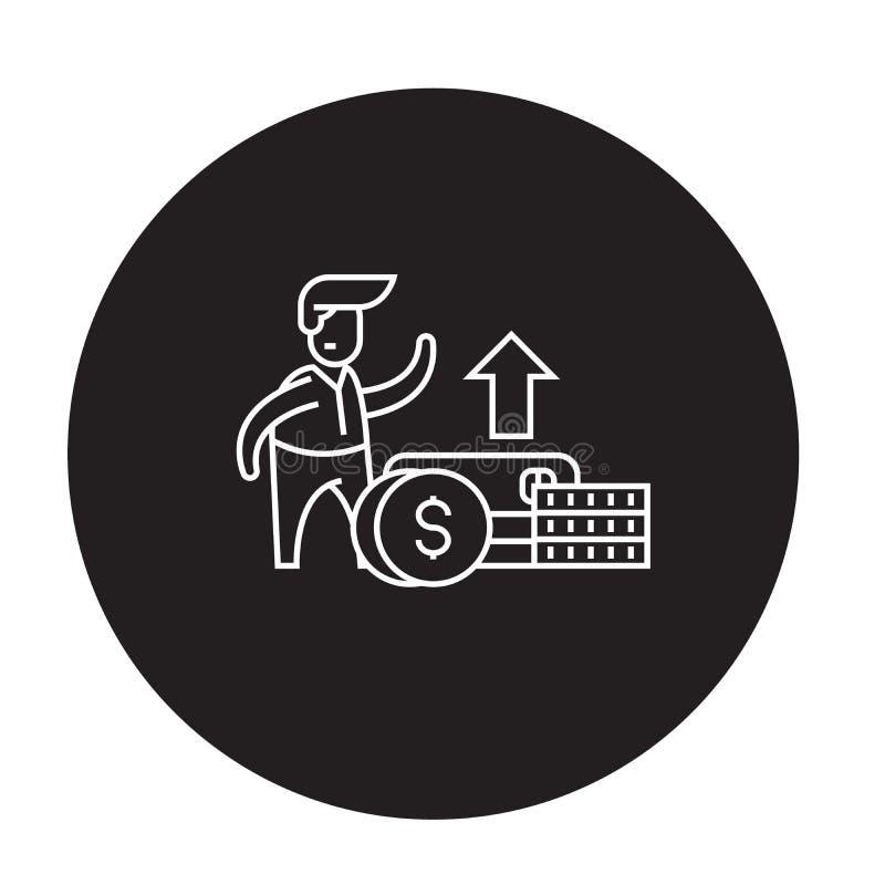 Icône noire de concept de vecteur de croissance financière Illustration plate de croissance financière, signe illustration de vecteur