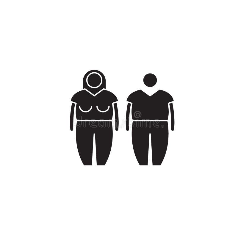 Icône noire de concept de vecteur d'obésité Illustration plate d'obésité, signe illustration de vecteur