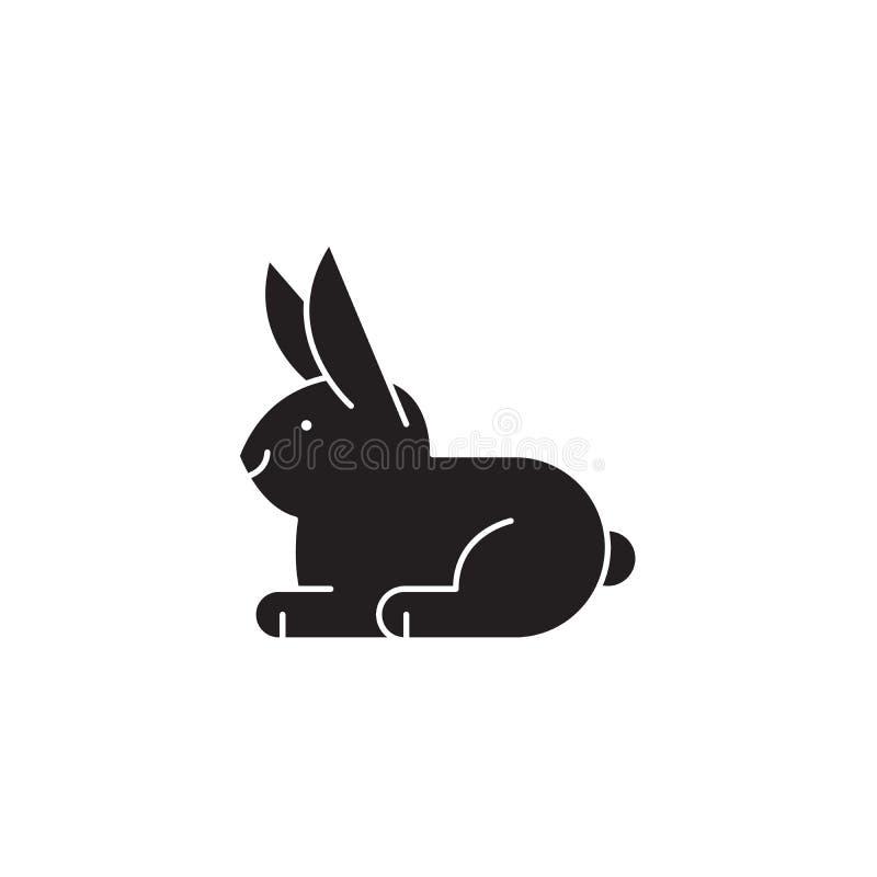 Icône noire de concept de vecteur de lapin blanc Illustration plate de lapin blanc, signe illustration de vecteur
