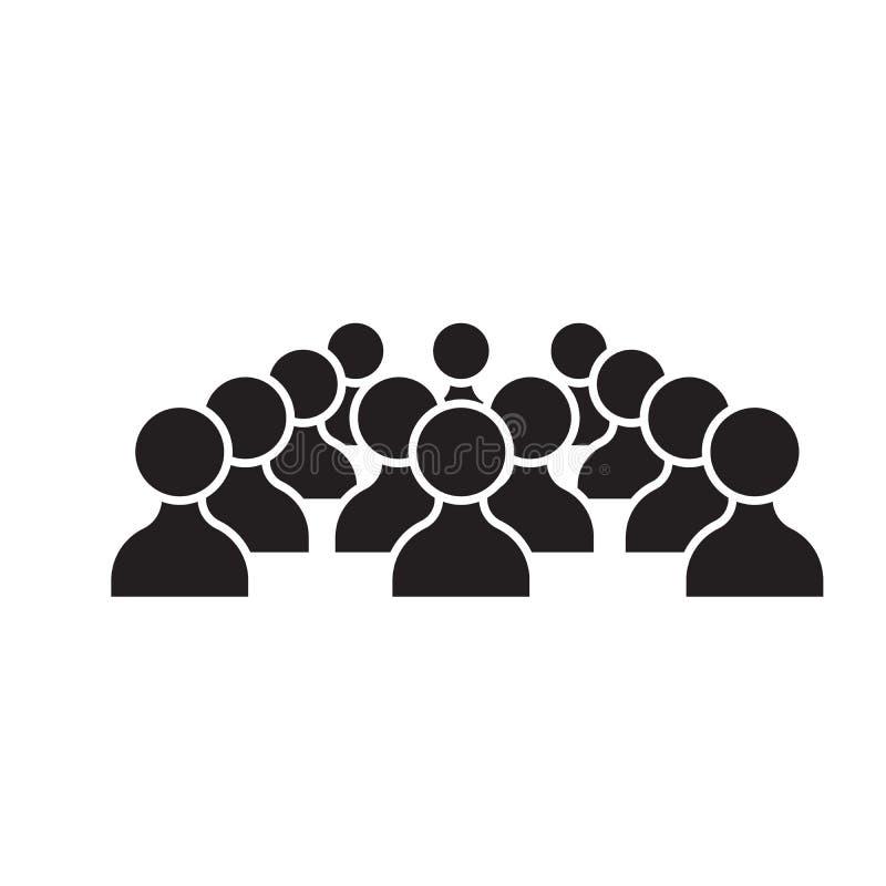 Icône noire de concept de vecteur de personnes de ressources humaines Illustration plate de personnes de ressources humaines, sig illustration stock