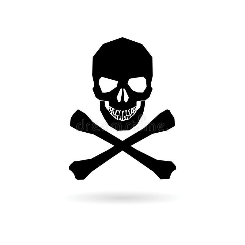Icône noire de crâne, icône simple de vecteur illustration stock